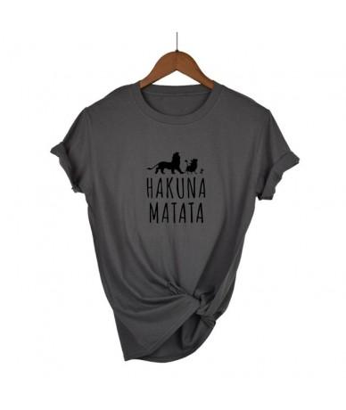 2019 Hakuna Matata letter print Tee shirt Homme Summer Women Short Sleeve t shirt Plus Size women casual 100% Cotton top - D...
