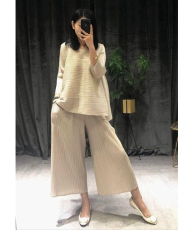 2019 Summer New Women's Sets Loose Pluz Size Tops Female Europe Fashion Casual Wild Pants Two Pieces Female - apricot - 4230...