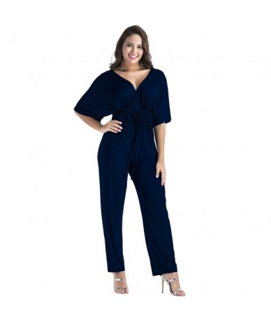 big size 3xl 2018 Women Summer Style Sexy Rompers Deep V neck Bandage wide leg Jumpsuits Long Pants Macacao green red pink b...