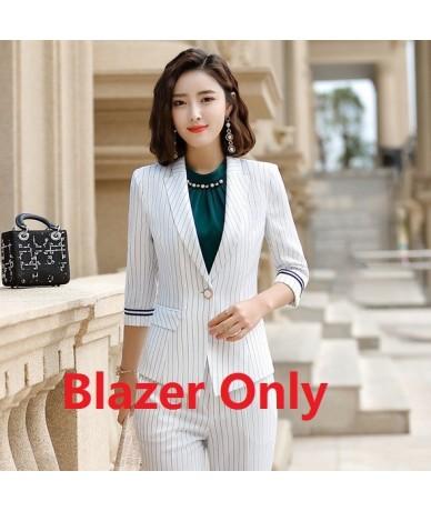 Fashion Casual Ladies Grey Striped Blazer Women Jackets Half Sleeve Work Wear Office Uniform Styles OL - White Blazer - 4G41...