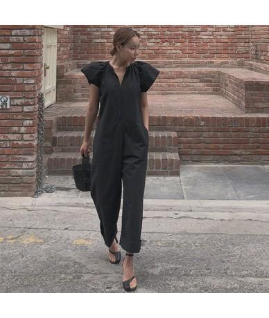 New Cotton and Linen Jumpsuit Female Korean Style Loose Pluz Size Ankle Length Pants Casual Jumpsuit Summer 2019 - black - 4...