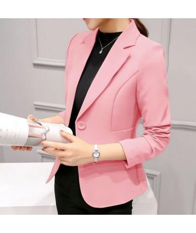 Spring Autumn Slim Fit Women Formal Jackets Office Work Suit Open Front Notched Ladies Solid Black Coat Top Blazers Jacket -...