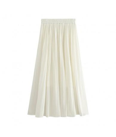 2019 Women Summer White Pleated Long Skirt High Waist Women A-Line Chiffon Skirts Saia Boho Women Pink Skirts Faldas Jupe Fe...