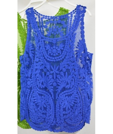 Summer Women Sexy Lace Tank Tops Vest Causal Sleeveless Crochet Slim Vest Fitness Camisetas O Neck Lace Floral Tank Top - S0...