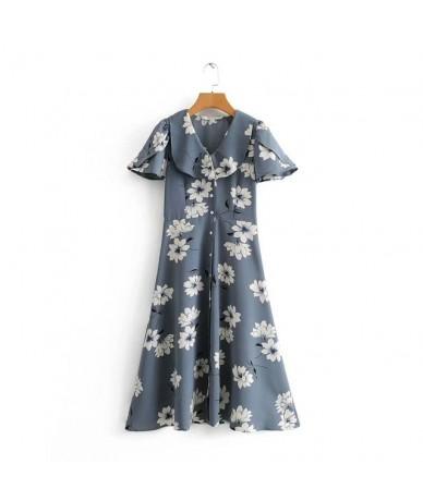 flower print chiffon dress women ruffles peter pan neck short sleeve sweet female pleated dresses vestidos 3D66 - Blue - 4H3...