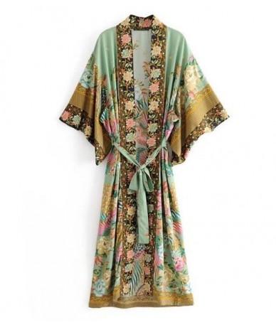 Bohemian V neck Peacock Flower Print Long Kimono Shirt Ethnic New Lacing up With Sashes Long Cardigan Loose Blouse Tops femm...