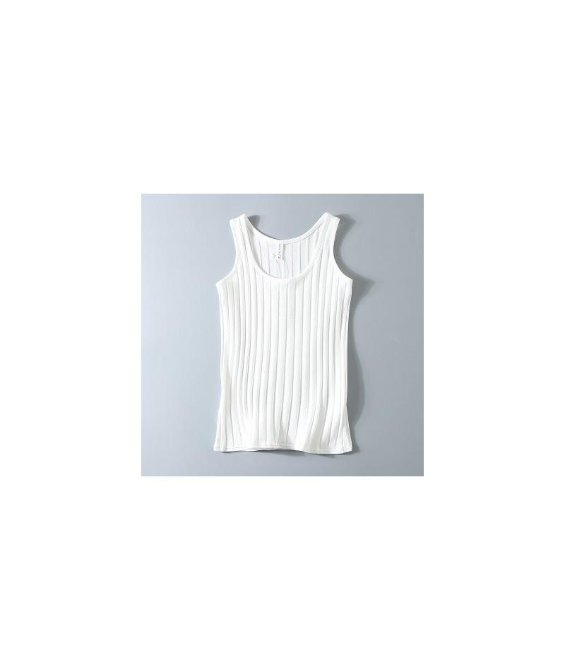 Summer women sweater tanks sleeveless plus size Knitted Elastic Cotton Ribbed Slim Halter Neck Sexy Strapless 100kg - white ...