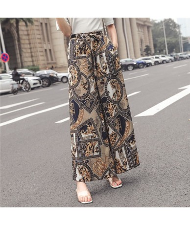 Real shot 2019 new fashion holiday style printed chiffon wide leg pants female loose drape bohemian beach pants - Khaki - 4R...