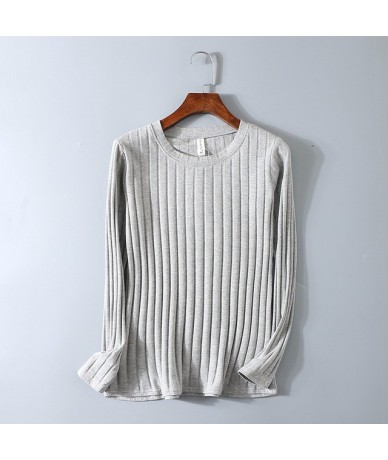 Spring Ribbed Striped Elastic T Shirt Women Top Casual Long Sleeve Shirt Cotton T-Shirts Tops Knitted Blusas Plus Size - Gra...