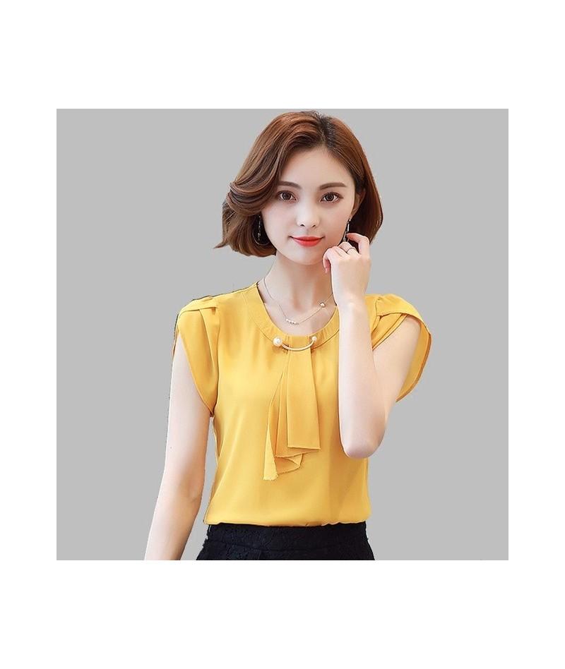 Summer Solid Chiffon Blouse Shirt Women Tops Short Sleeve Shirt Women Ladies Office Blouses Fashion Blusas Chemise Femme - Y...
