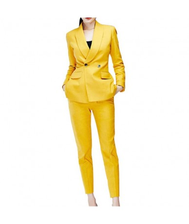 2019 Fashion Yellow Double Breasted Women's Slim Fit 2 Pieces Suits Female Office Uniform Style Tuxedo Suits Dos Piezas Muje...