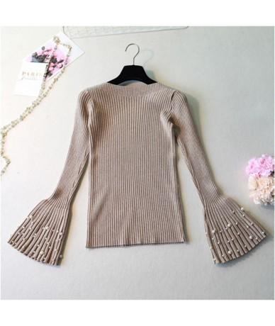 slash neck Autumn Winter Pullovers Sweater Women pearl thick sweater knit sweater flare long sleeve Basic Sweater Jersey Muj...