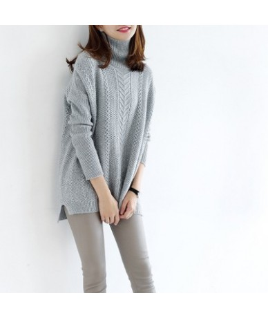 Autumn Winter new women sweaters fashion 2018 women turtleneck cashmere sweater women knitted pullovers Loose tops - light g...