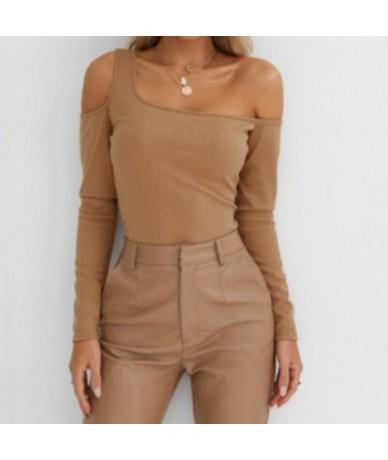 Women Casual Tee Tops Ladies Long Sleeve Shirt Women One Shoulder T Shirt Solid Autumn Slim Skinny T-Shirt - Khaki - 4L30757...