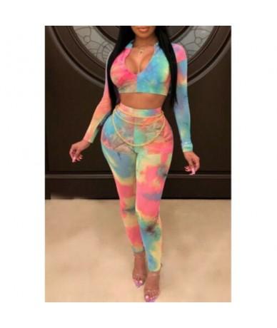 New Hot Sale Women Fashion Print Deep V Neck Long Sleeve Crop Top Long Pants Bodycon Clubwear Jumpsuit Set Female 2pcs Outfi...
