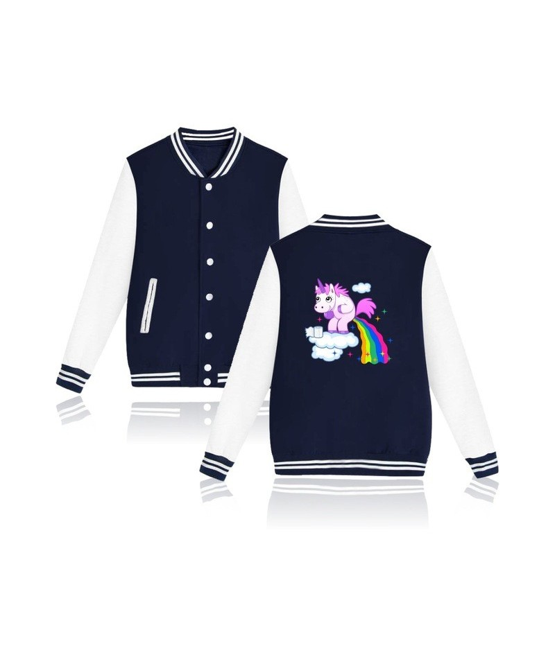 Funny Rainbow Unicorn Jacket Women Men Unicornio Harajuku Tracksuit Pink Sweatshirt Kawaii Hoodies Sudaderas Mujer - Navy - ...