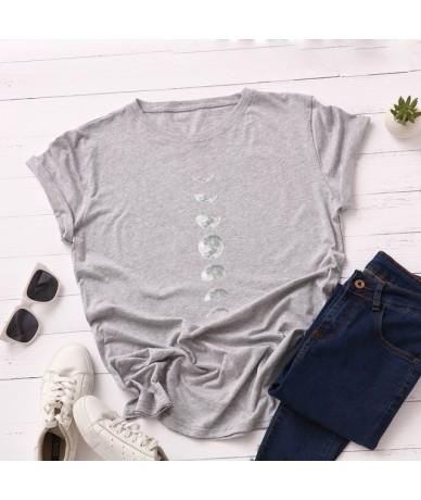 Moon Print Cotton Summer T Shirt Women O Neck Graphic Tees Casual Plus Size 5XL T-shirt Womens Aesthetic Shirts Tops Free Sh...