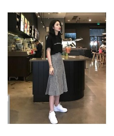 Hot 2019 New Fashion Two Piece Set Summer Dresses Women Houndstooth Preppy Style Dress Wholesale - 1 - 464115881442-1