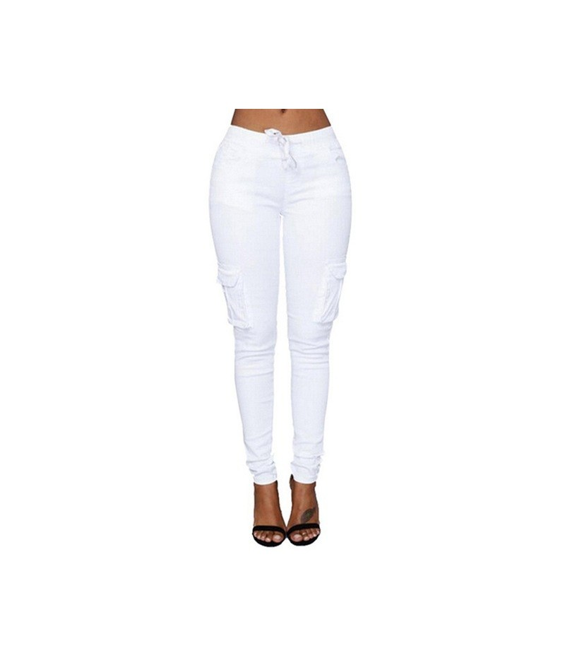 2019 Women Pants Spring High Waist Casual Solid Pencil Pants Multi-Pockets Plus Size Straight Slim Fit Trousers - White - 43...