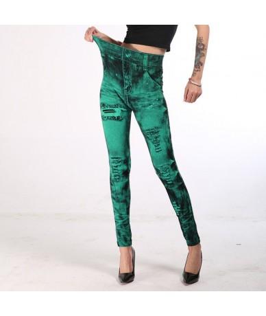 2019 Imitation Cowboy Printed Leggings Women High Waist Slim Elastic Pencil Pants Plus Size 3XL Sexy Jeans Leggings - Green ...