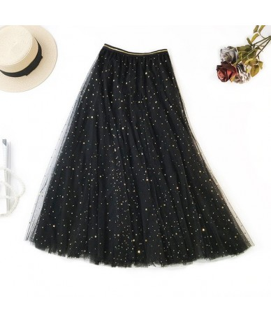 Women Cute Lace Long Tulle Skirt Ladies Blingbling Party Skirts Adult Tutu Fashion Girls Candy Color Sweet Half Skirt - Blac...