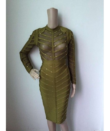 factory dress 2016 new wholesale green khaki nude pink black studded long sleeve bandage dresses girl party dress - Army Gre...
