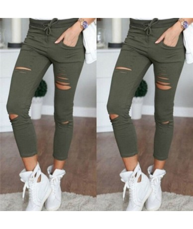 Women Leggings Holes Pencil Stretch Casual Denim Skinny Ripped Pants High Waist Jeans Trousers Fashion Pants - Army Green - ...