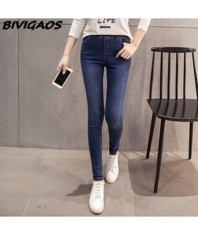 New Women's Jeans Leggings High Elastic Bleach Denim Pencil Pants Black Casual Skinny Jeans Women Jean Jeggings - bleach Blu...
