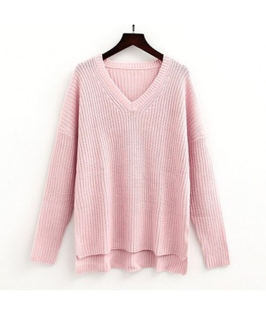 Warm Winter V Neck Knit Sweater Women Pullover Knitted Jumpers Pink Sweaters For Women Sweaters And Pullovers Women's Sweate...