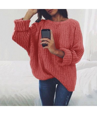 2019 Women Autumn Winter Women Sweater O-neck Knitted Pullover High Quality White Black Jumper - Red - 4E3007261652-5