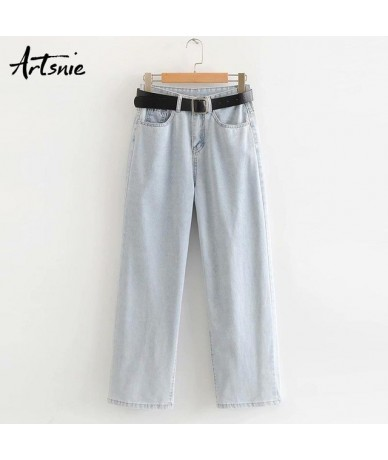high waist blue casual straight denim pants women autumn 2019 belt pockets zipper jeans boyfriend loose pants mujer - Blue -...