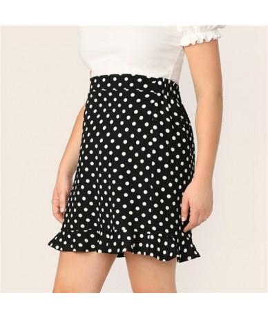 Black Plus Ruffle Hem Polka Dot Skinny Short Skirt Casual Elegant Summer Office Lady Highstreet Stretchy Pencil Skirts - Bla...