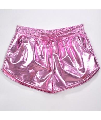Women Metallic Shorts Elastic Waist Shiny Short Trouser Wet Look Drawstring Bottoms Night Club Booty Dance Party Mini Shorts...