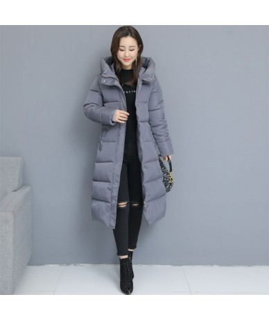 Winter Women Parkas Coats Casual Long Sleeve Hooded Jackets 2019 Autumn New Warm Solid Zipper Plus Size Long Outerwear - Gra...