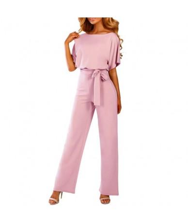 Elegant sashes jumpsuit women Short sleeve women jumpsuit Summer straight leg elastic waist romper Office ladies jumpsuit 20...