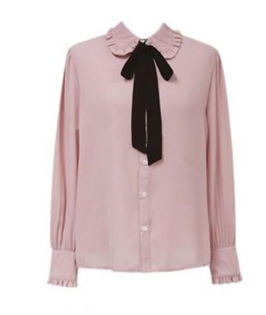 Autumn Basic Shirts Blouses Women Vintage Long Sleeve Tops Korea Cute Sweet Peter Pan Collar Top Pink Bow Tie Button Shirt 1...