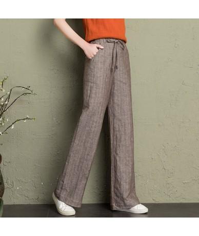 cotton linen wide leg pants women 2019 summer striped Breathable plus size harajuku gothic trousers women palazzo pants capr...