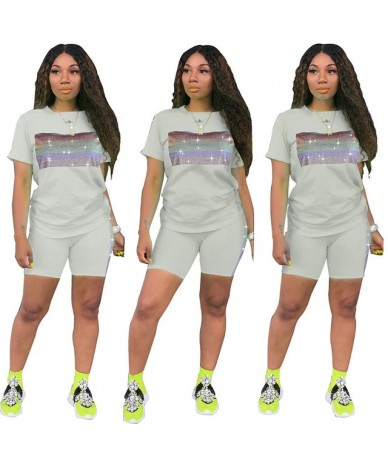 Fashion Sheer Diamond Two Piece Set O-neck Shirt + Short Pants Sportwear Club Outfits For Women 2 Color - white - 5L11112331...