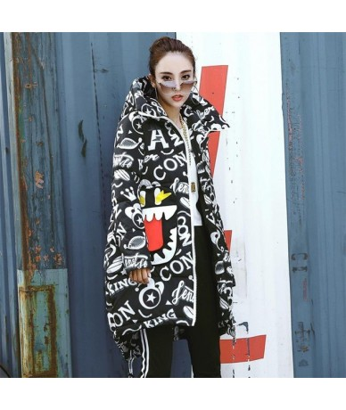 Fashion Parka mujer winter jacket women Big mouth Printed Loose Thicken Warm Coat Hooded Cloak Padded Snow Down Parka plus s...