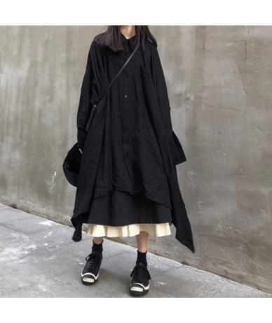 2019 New Spring Summer Lapel Long Sleeve Black Irregular Spliced Loose Long Shirt Dress Women Fashion Tide JX299 - black - 4...