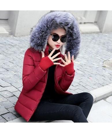 2019 New Fashion Winter Jacket Women Fake Raccoon Fur Collar Winter Coat Women Parkas Warm Down Jacket Female outerwear - wi...