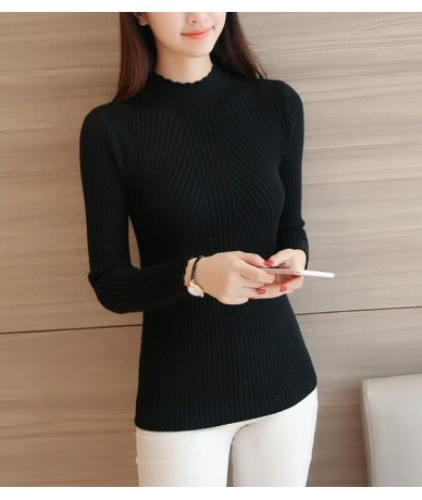 2018 Autum Women Ladies Long Sleeve Turtleneck Slim Fitting Knitted Thin Sweater Top Femme Korean Pull Tight Casual Shirts -...