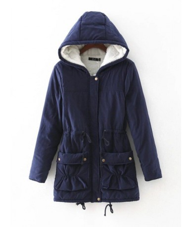 Winter Coat Women 2019 New Parka Casual Outwear Military Hooded Thickening Cotton Coat Winter Jacket - 5 - 453825171619-4