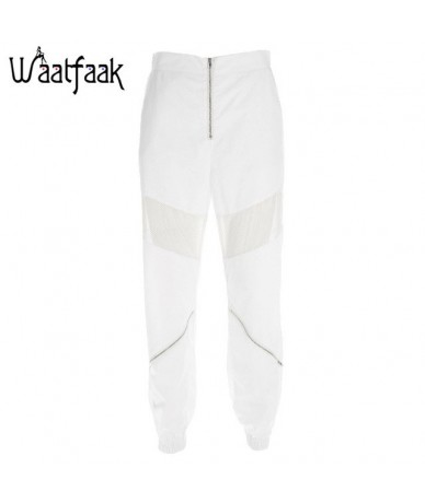 High Waisted trousers women White Loose Harem Pants Hollow Out Patchwork Mesh Zipper Sweatpants Women Casual Joggers - White...