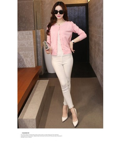 New women's shot all-match knitting a small hollow shawl short thin cardigan jacket 22 - pink - 4I3974674739-3