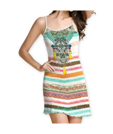 New 2018 Summer Dress Women Fashion Strapless Mini Party Dress Digital Print Sleeveless Slim Brief Casual Dresses - Clear -...