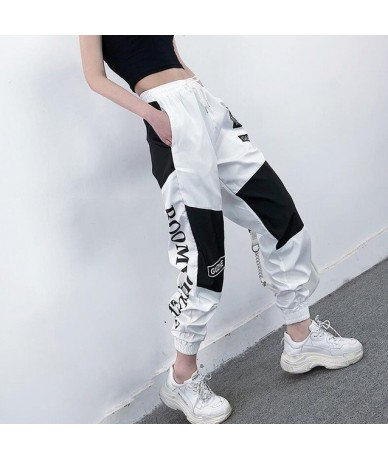 High Waist Letter Spliced Cargo Pants Women Loose Harajuku BF Ankle-Length Overalls Pants Plus Size Hip Hop Women's sports p...