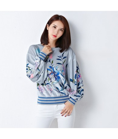 2019 Spring and autumn fashion personality casual women's new chic printed lantern sleeves long sleeve velvet Sweatshirts - ...