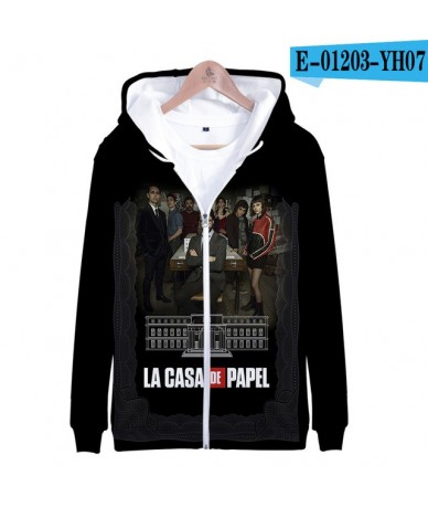 Leisure Spanish TV series Money Heist La casa de papel Zipprt Sweatshirt Hoodies HIP HOP Arrival Casual Long Sleeve Zipper -...