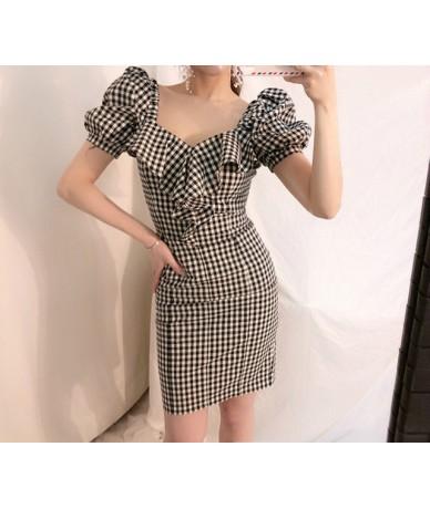 2019 Newest Women Plaid Printed Sexy Bodycon Dress Summer Puff Sleeve Ruffle Ladies Dresses Elegant Party Vestidos 39470 - b...
